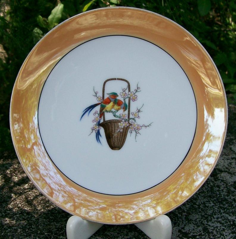 Noritake Art Deco Porcelain Plate Chinese Pheasant Birds Orange Luster Rim N1143BL