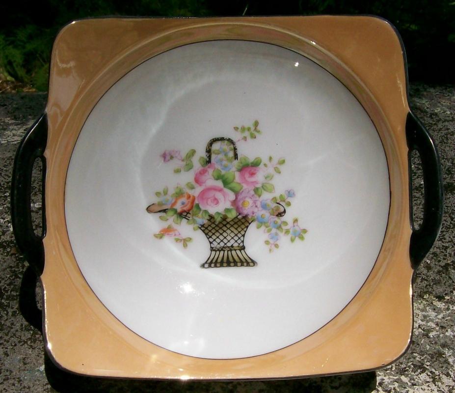 Noritake Art Deco Lusterware Bowl Two-handled Flower Basket Center 1920s-30s 6.5