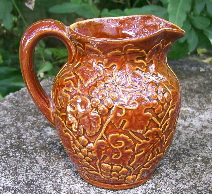 Antique Uhl Stoneware Grape Pitcher #184 Brown Glaze 4.5
