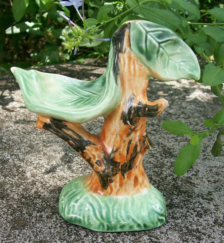 Novelty Ceramic Salt & Pepper Shaker Holder Only: Tropical Tree Orimco Japan