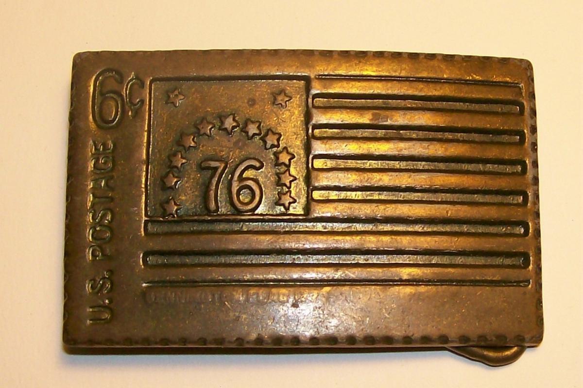 Brass-Plated Postage Stamp Belt Buckle 6c Bennington Flag