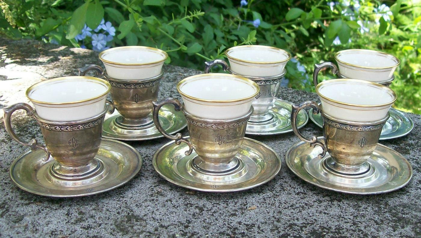 Antique Dominick & Haff Sterling Silver Demitasse Cup & Saucer Set  of 6 #792 Lenox China Liners
