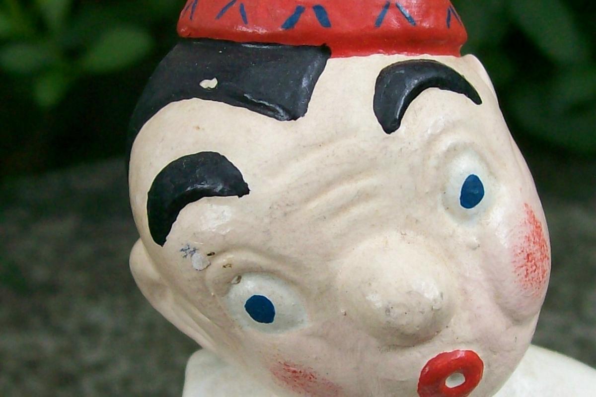 Vintage Carnival Chalkware Circus Clown Full Figure  6.75
