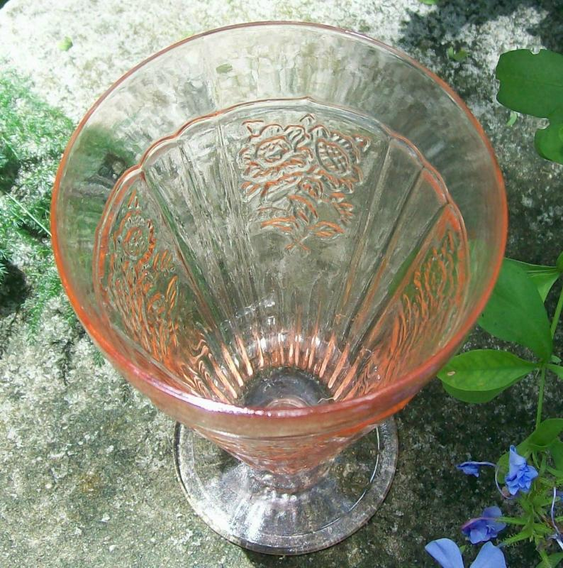 Vintage Hocking Mayfair/Open Rose Footed Iced Tea Glass Tumbler Pink 15 Oz.