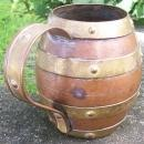Arts & Crafts Copper Mug with Brass Bands Barrel Form 4.25