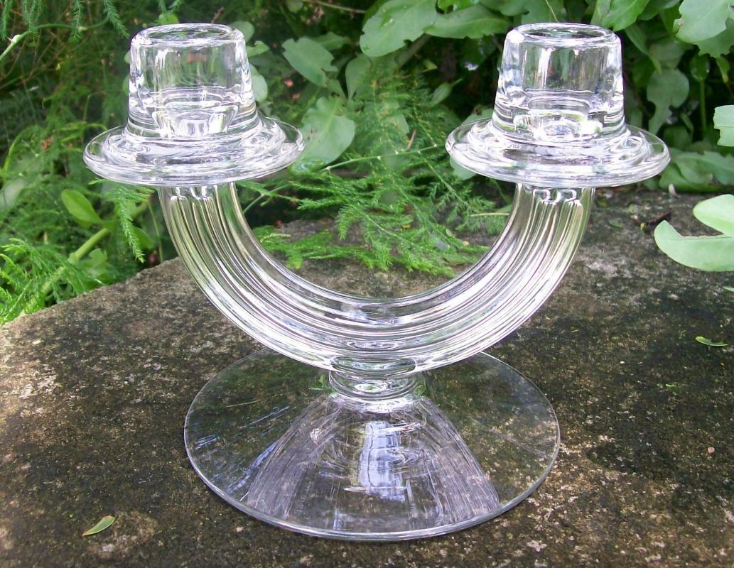 Vintage Fostoria Art Deco Candlestick #2447 Clear Double-Light