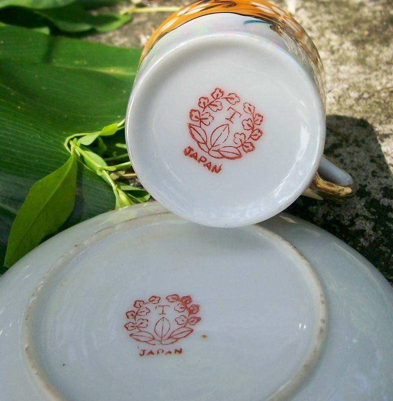 Japanese Lusterware Ceramic Demitasse Cup & Saucer Orange Floral