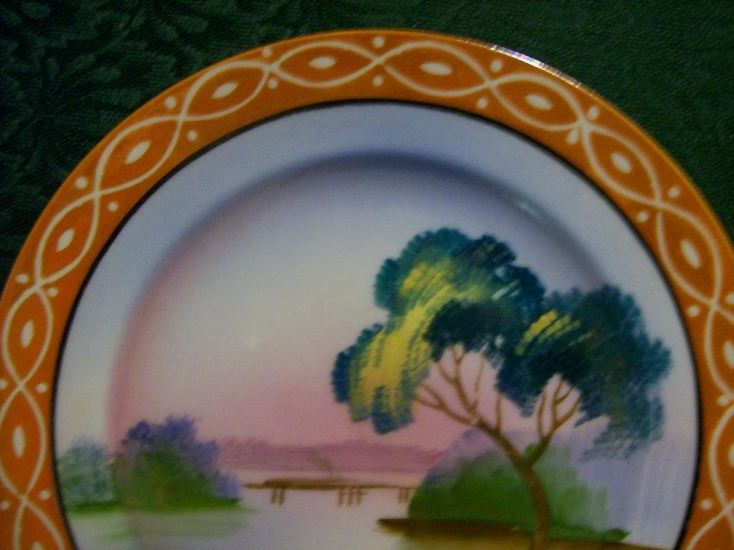 Japanese Luster Ware Plate: Patterned Rim
