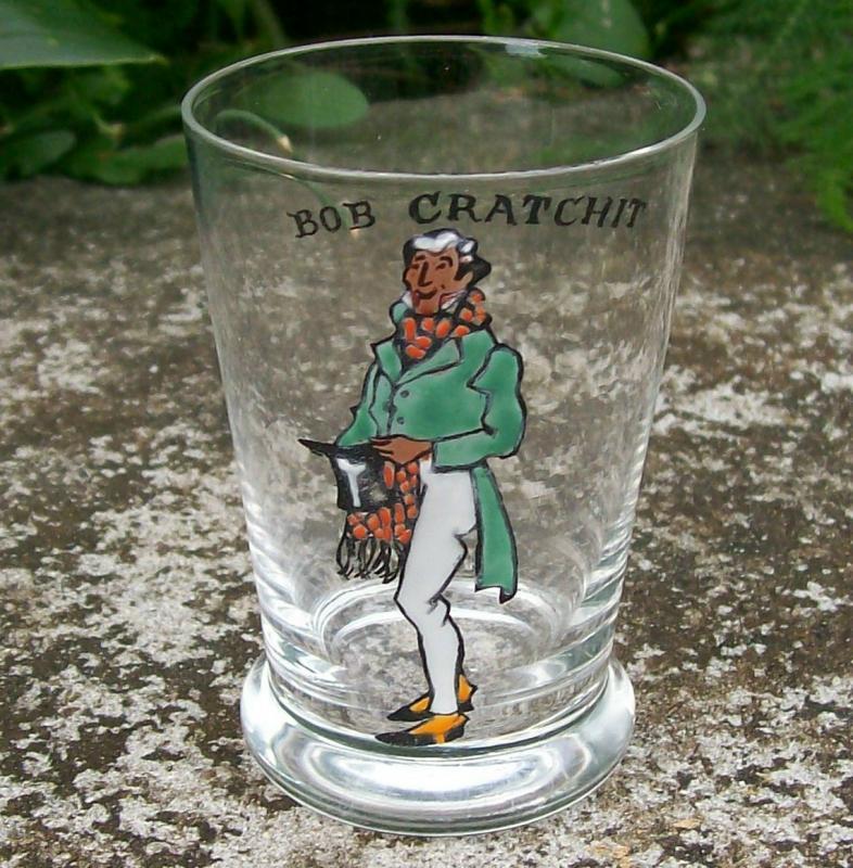 Dickens Enameled Glass Jigger: Bob Cratchit