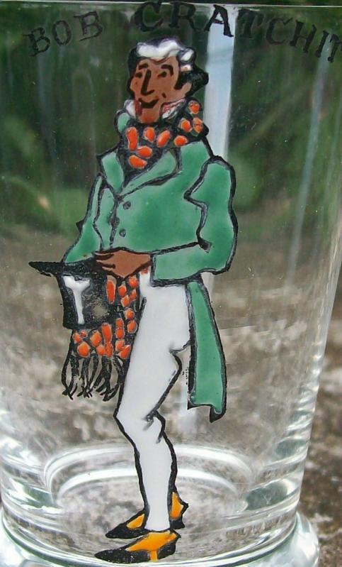 Vintage Bob Cratchit Jigger Enameled Bar Glass Dickens Character