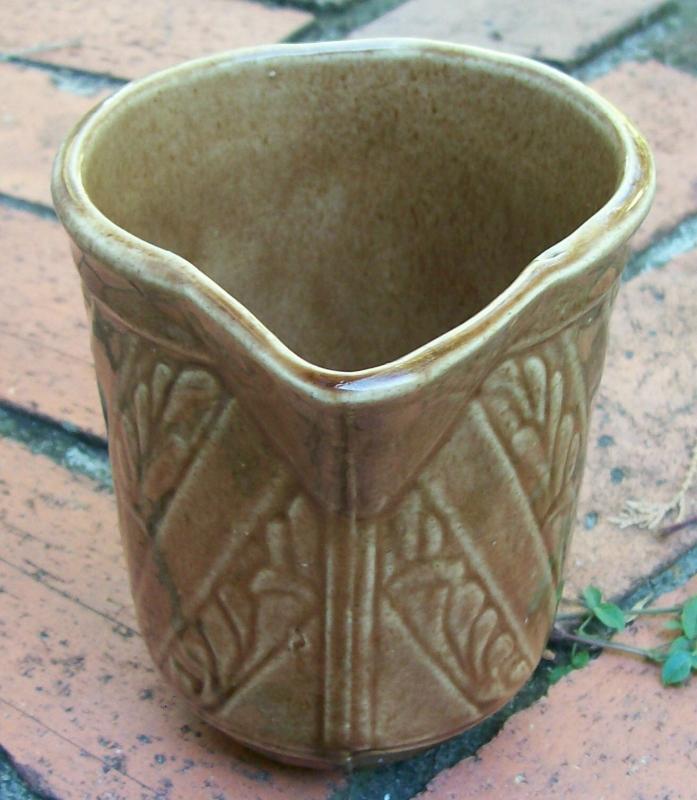 Monmouth/Western Stoneware Ceramic Pitcher Brown Glaze Spiral Leaf Band 5.25