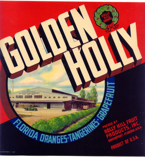 Vintage Florida Citrus Label Holly Hill Fruit