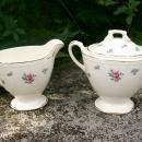 Vintage Homer Laughlin Rambler Rose Creamer & Sugar Bowl w/Lid