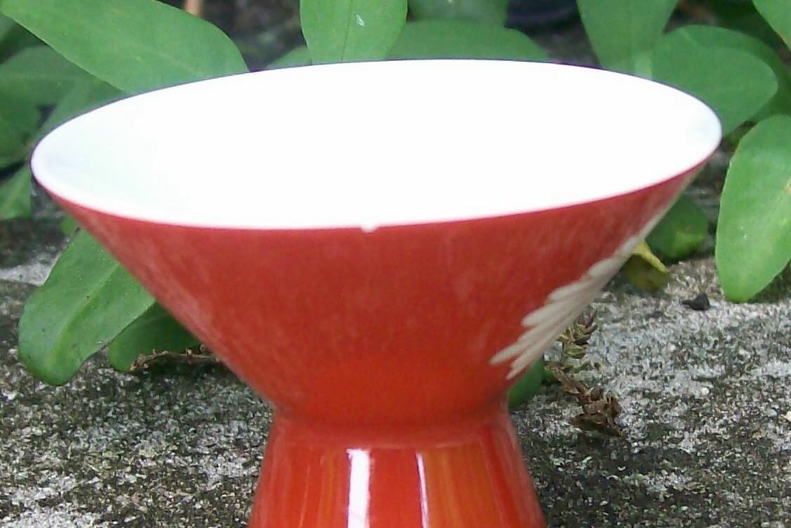 Vintage Noritake N2677 Sake Cup Pair Red w/White Daisies