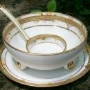 Antique Noritake Nippon Gold-Encrusted Whipped Cream Bowl Set 3-Piece