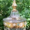 Vintage Westmoreland Colonial Candy Jar #1700 Gold Band Hand-painted Flowers