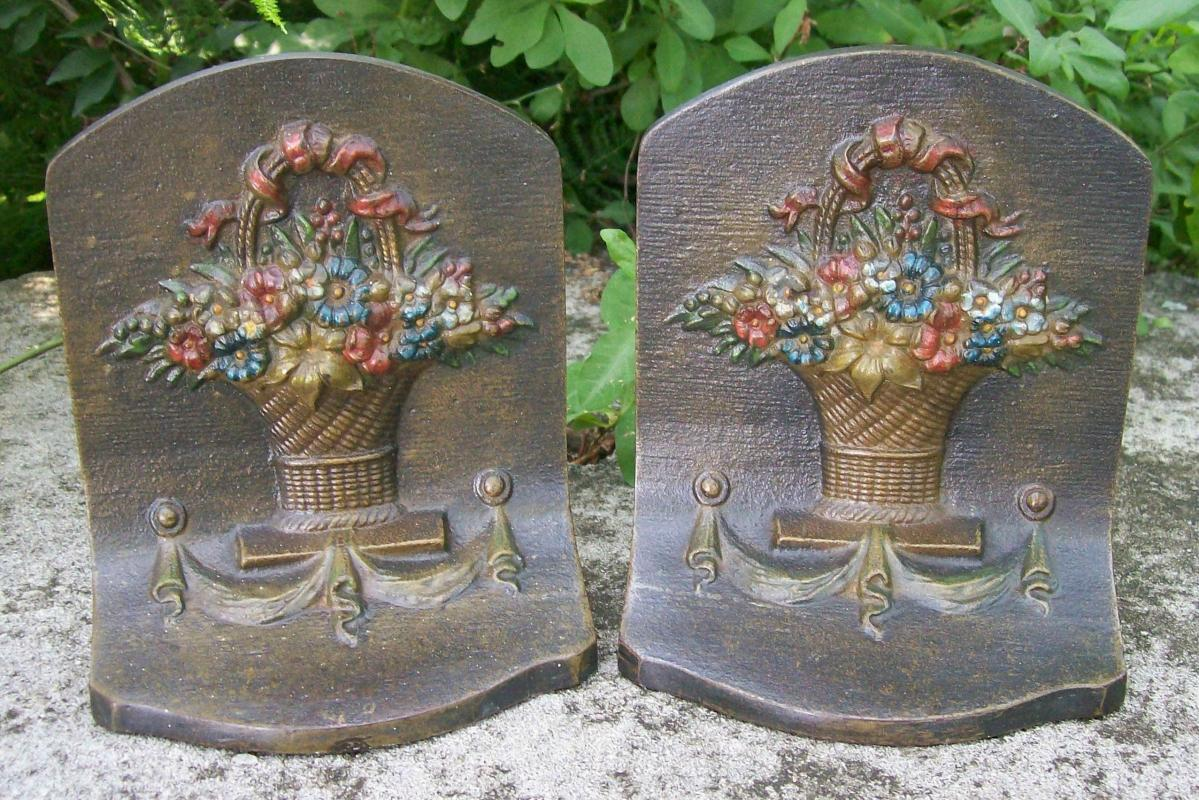Antique Bradley & Hubbard Bookends Flower Basket Cast Iron