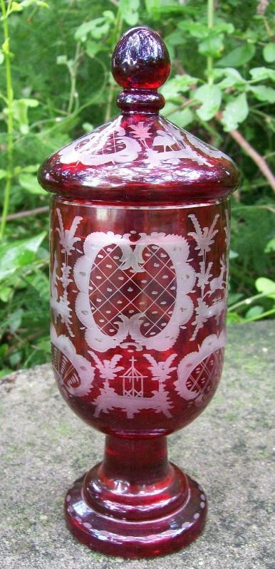 Antique Egermann Bohemian Covered Candy/Pokal Ruby-Cut-to-Clear