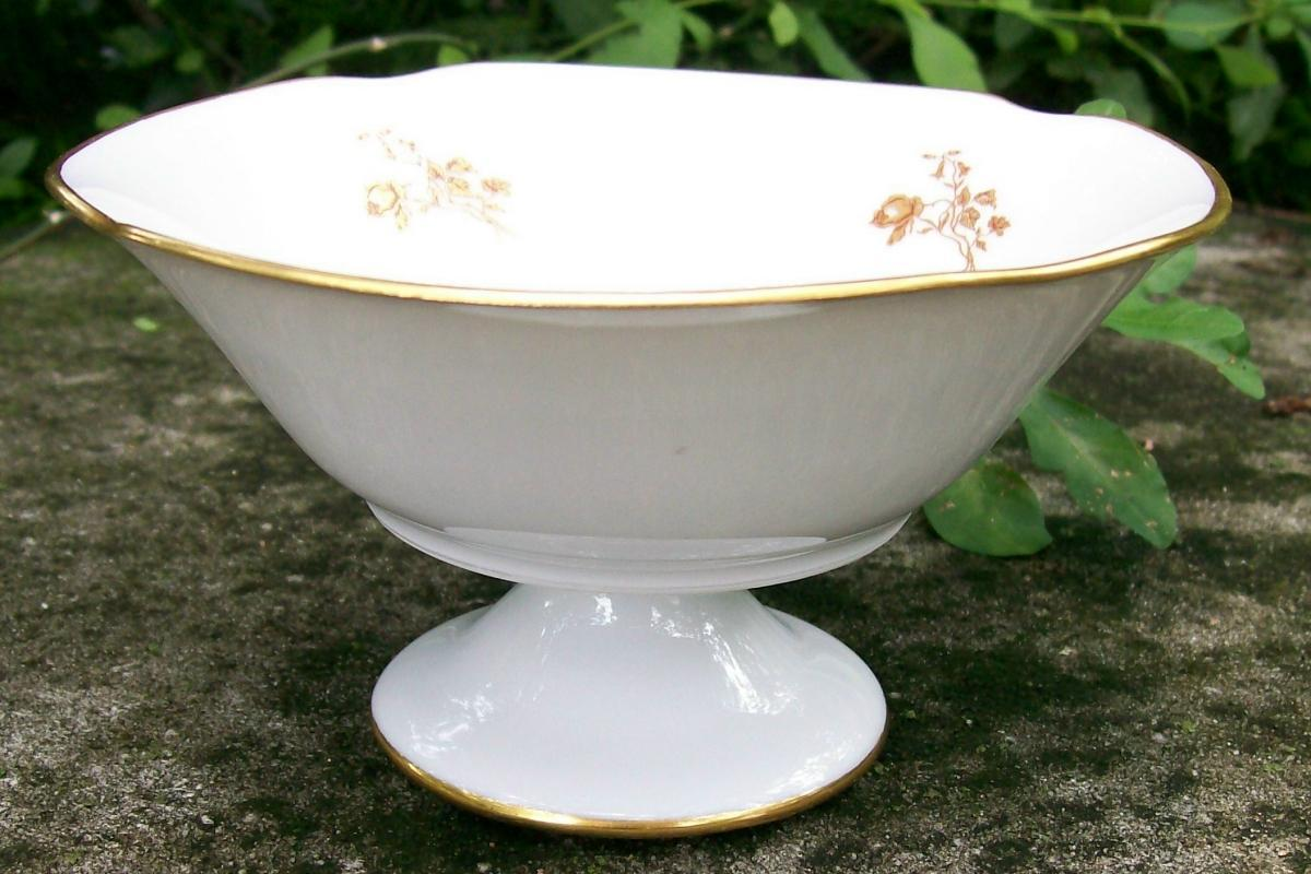 Limoges France Porcelain Pedestal Bowl Gold Floral 3.25