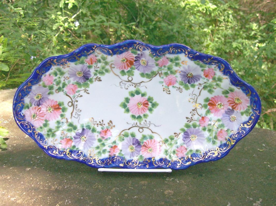 Nippon/Japan Cobalt Trimmed Celery Dish Hand-painted Flowers & Gold