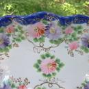 Antique Nippon/Japan Cobalt Trimmed Celery Dish Hand-painted Flowers & Gold