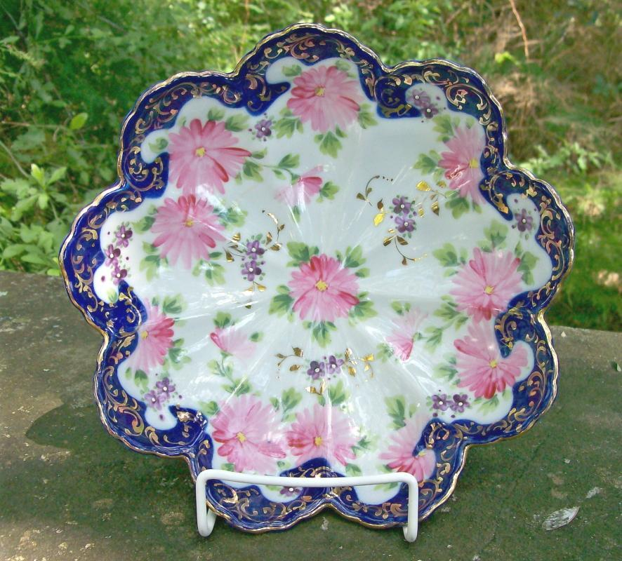 Antique Nippon/Japan Cobalt Trimmed Bowl Hand-painted Flowers & Gold