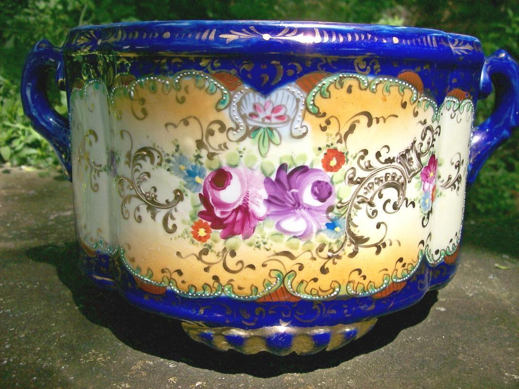 Antique Nippon Ferner/Planter Cobalt Blue/ Multi-Color Flowers & Gold Porcelain 10.5