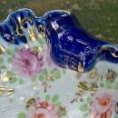 Antique Nippon/Japan Cobalt Trim Shell Dish HP Roses/Gold