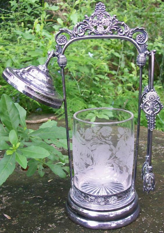 Antique Victorian Silver-plate Pickle Castor Set 4-Pc Parrot/Grasshopper Etching