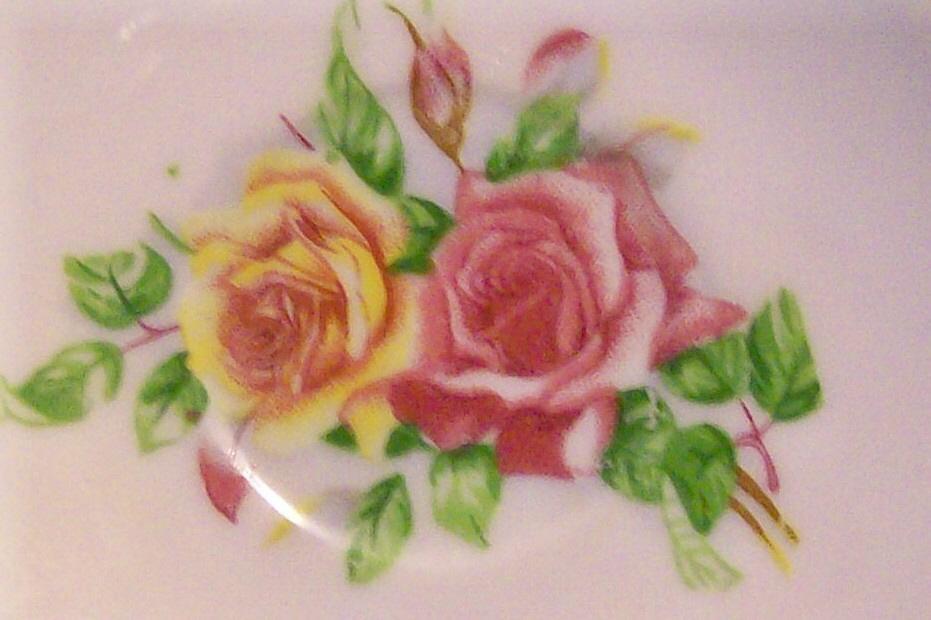 Enesco/Japan Miniature Ceramic Cup & Saucer: Octagon with Roses