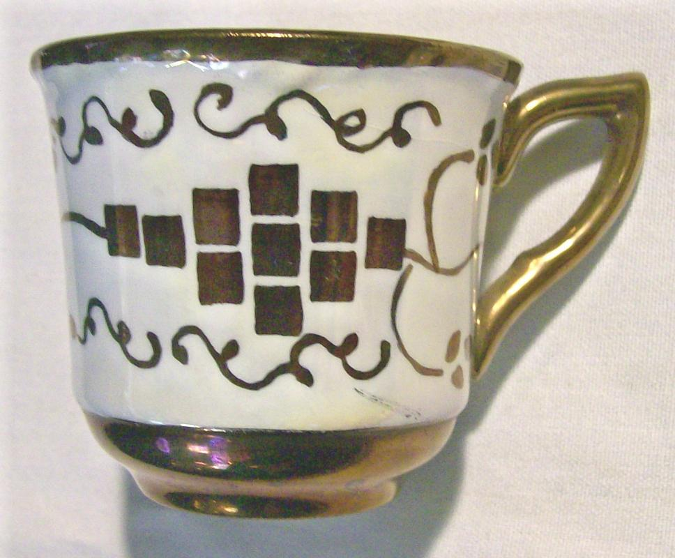 Cumbow China Pocahontas Demitasse Cup Copper Luster 1930s-40s