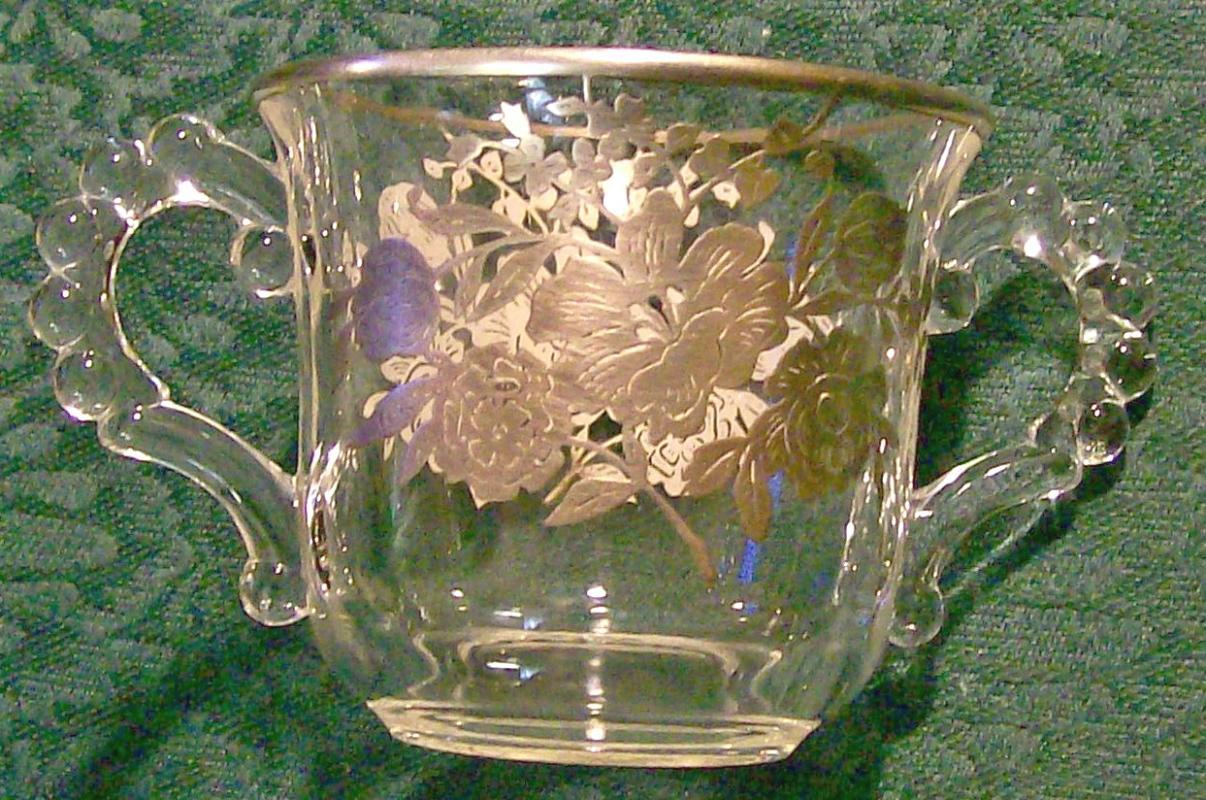Imperial Candlewick Clear Glass Sugar Sterling Silver Overlay Floral