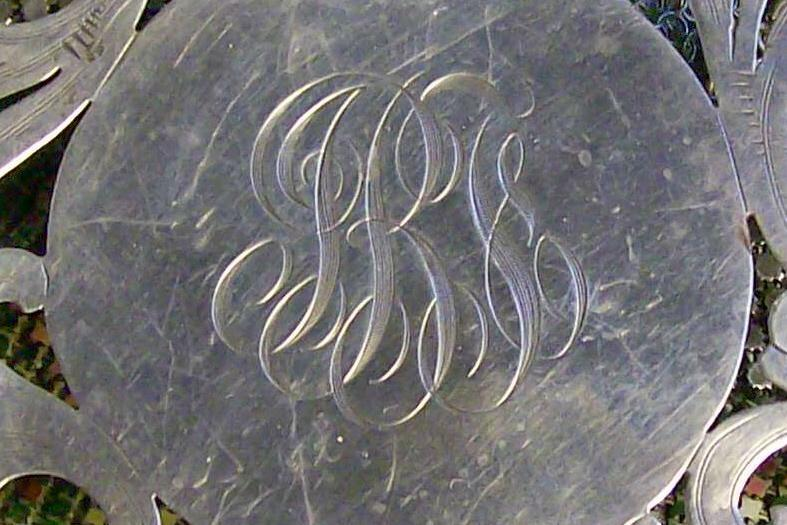 Antique Merrill Shops Sterling Silver Trivet #A92 with Monogram