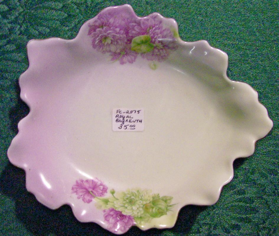 Royal Bayreuth Porcelain Leaf Dish Green/Lavender Florals: P.T. Germany