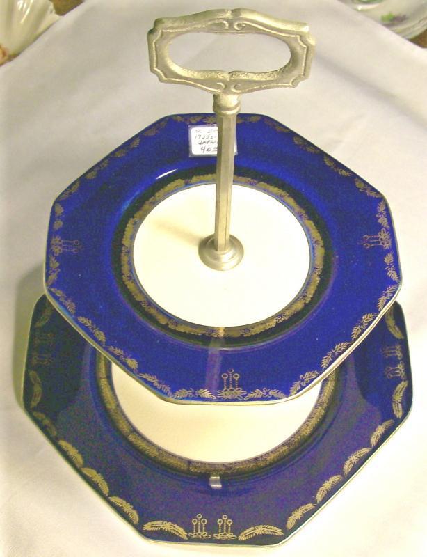 Cobalt Blue & Gold Ceramic Two-Tiered Octagonal Server: 1920's-30's Japan