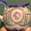Nippon/Japan Porcelain Creamer Hand-Painted Rose Cameo/Cobalt/Gold