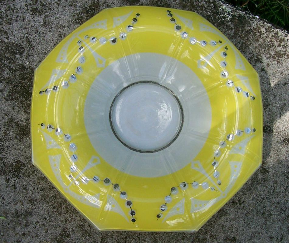 Vintage Indiana Artura Art Deco Glass Floral Bowl Yellow/White/Silver 12