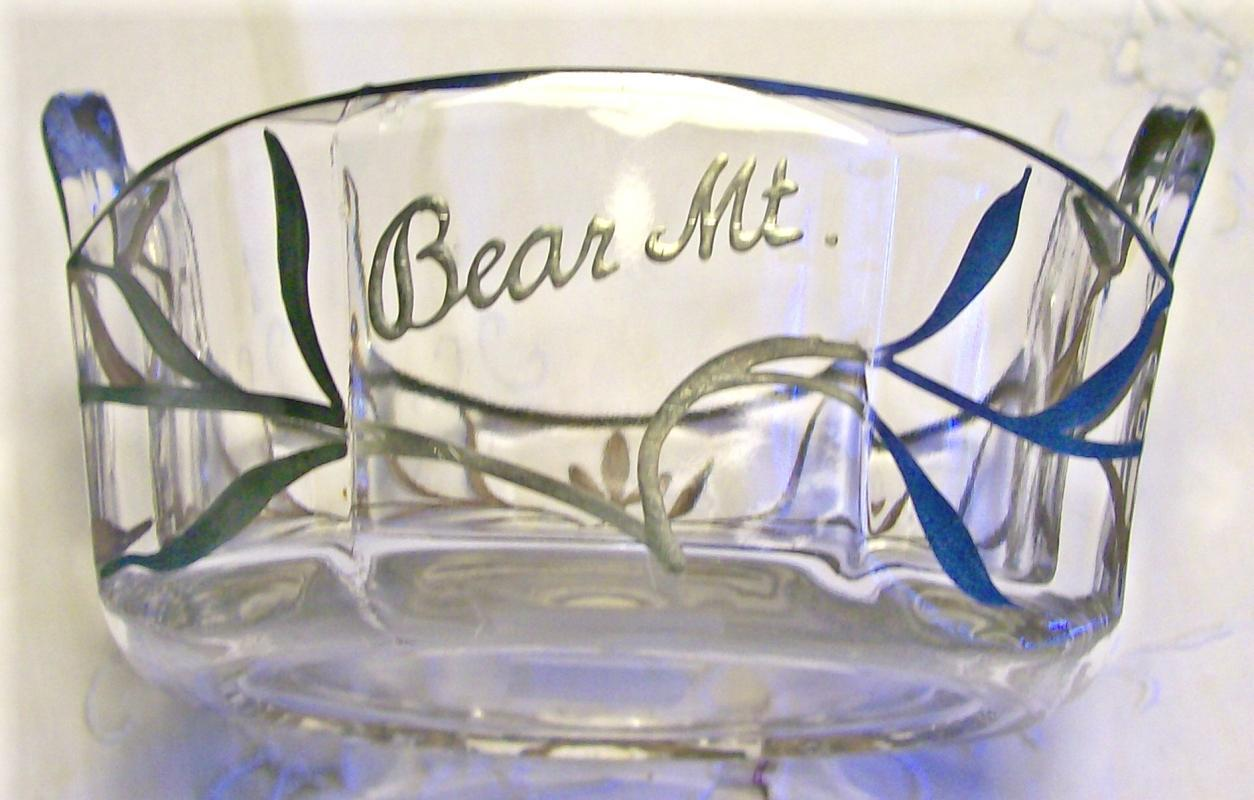 Antique Westmoreland Colonial Lady Silver Overlay Glass Dish #1700 Souvenir of Bear Mountain