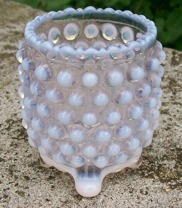 Antique Opalescent Glass Over-All Hobnail Toothpick Holder