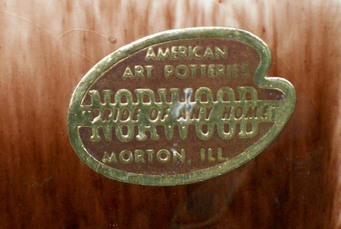 Vintage MCM Norwood Vase White/Yellow/Brown American Art Potteries 6