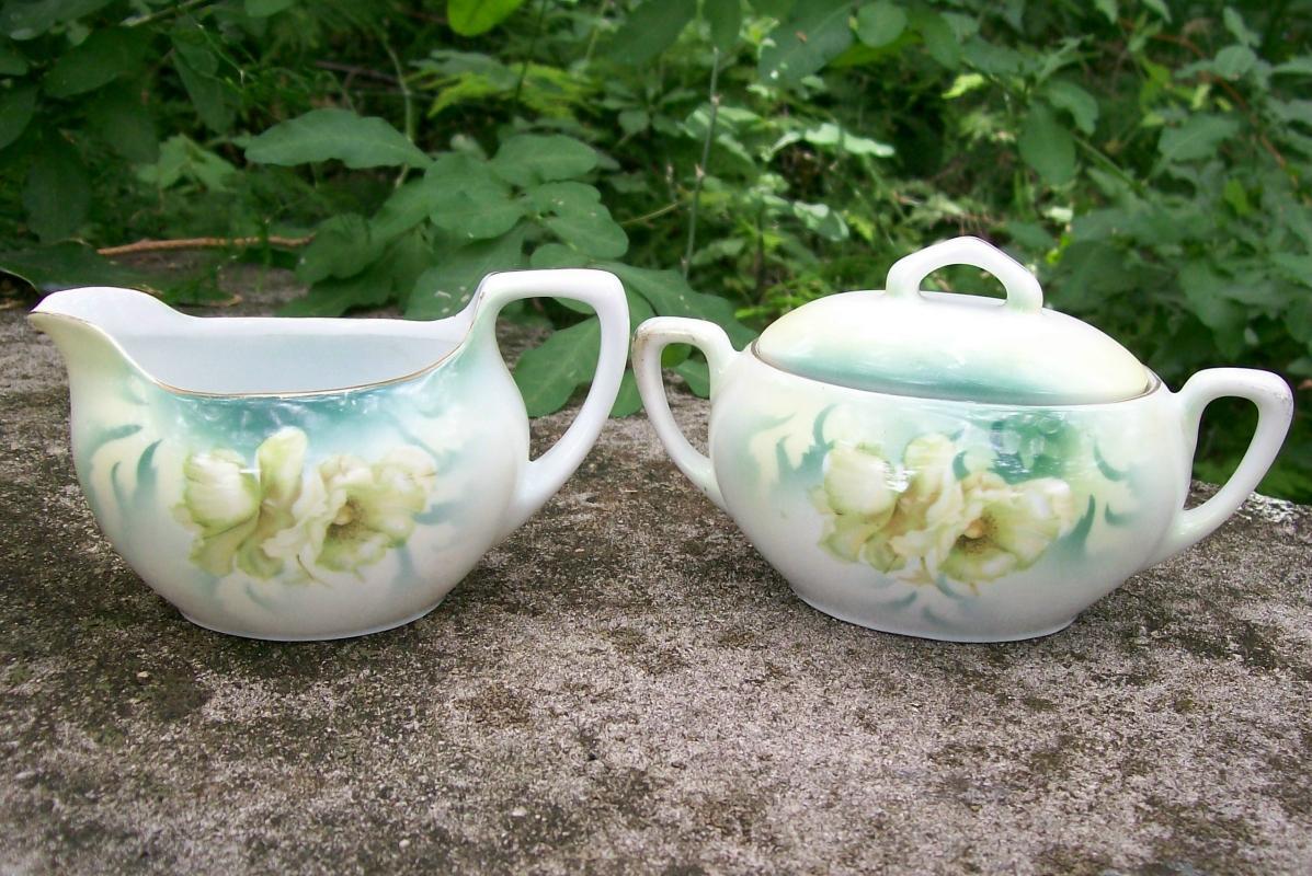 Antique R.S. Germany Cream & Sugar Set Ca. 1900 Green & White Poppies RHS88