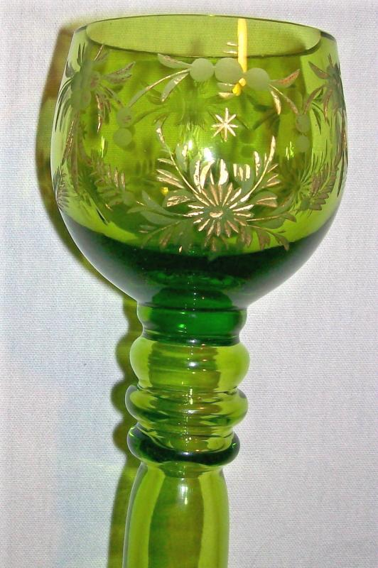 Antique Bohemian Roemer Wine Glass Green with Gold Engraved Florals Late 1800's 8 1/8