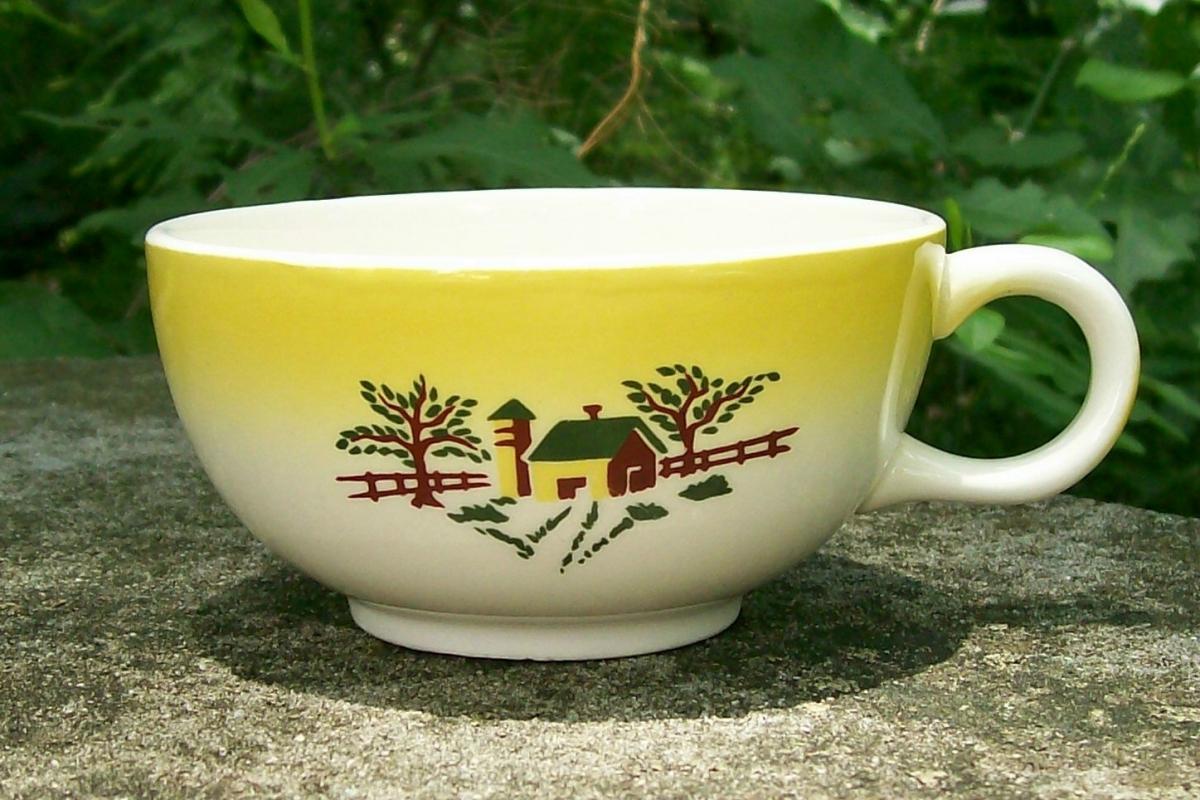 Grantcrest Country Charm Ceramic Cup Yellow Farm Scene 1950's
