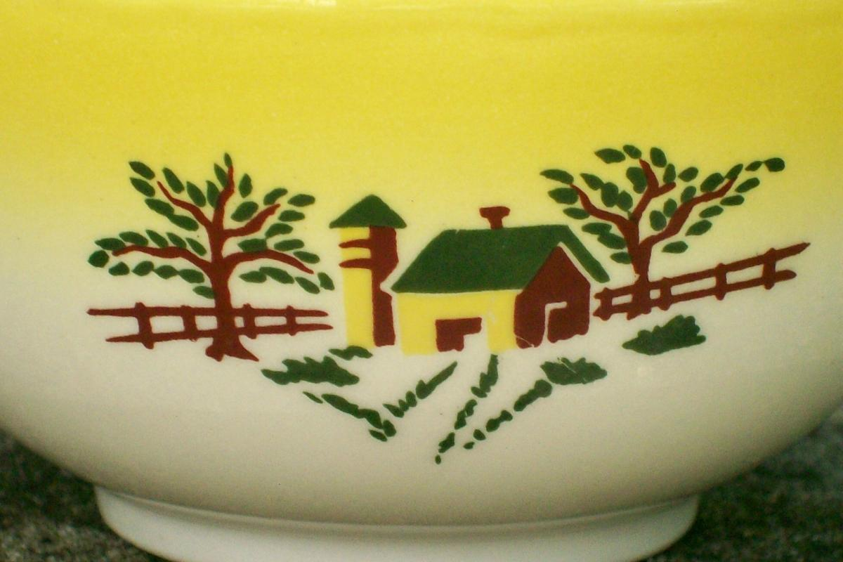 Grantcrest Country Charm Ceramic Cup Yellow Farm Scene 1950's