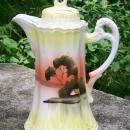 Vintage Takito Chocolate Pot Yellow Landscape 1920s Japan