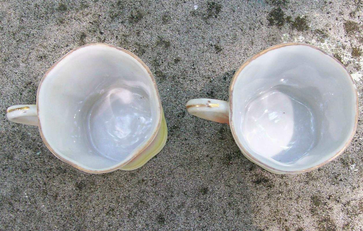 Takito Japan Ceramic Chocolate Cups Yellow Landscape 1920's