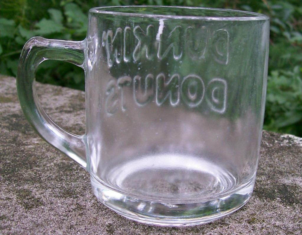 Dunkin' Donuts Clear Glass Embossed Mug 3 3/8