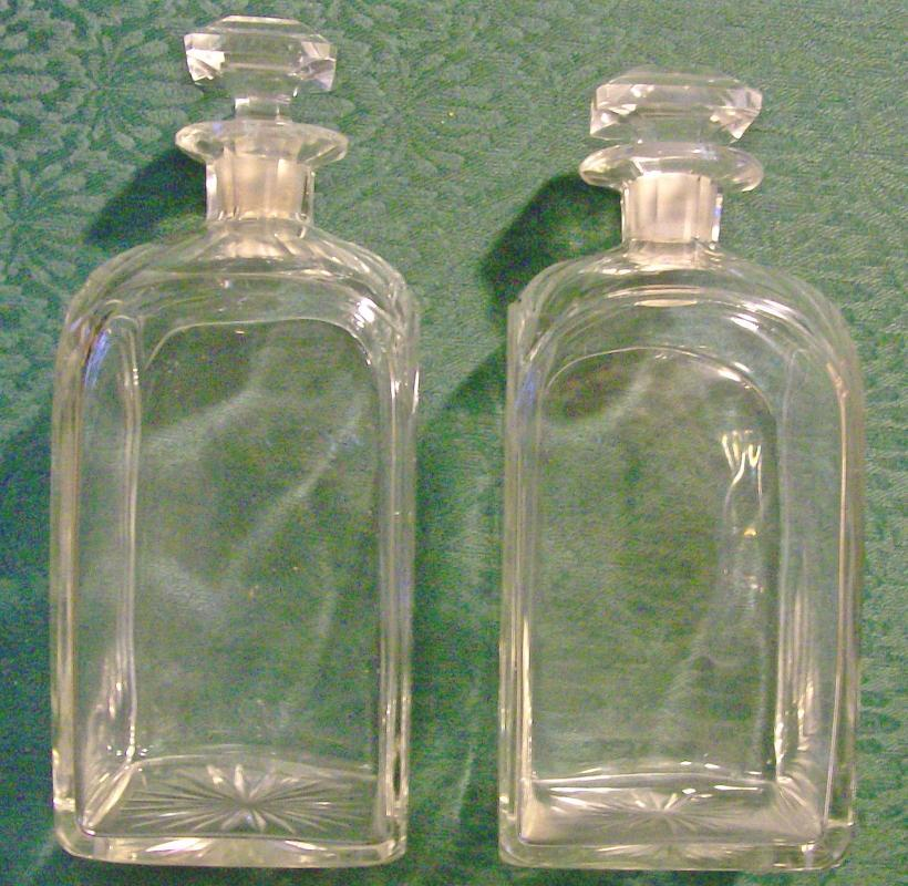 Antique Cut Crystal Liquor Decanter Pair Ca. 1900 Clear Barware