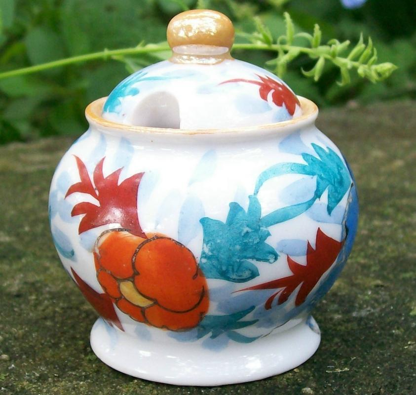 Vintage Shoten Art Deco Mustard Pot w/Lid Japan 1920s-30s