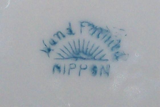 Antique Noritake Nippon Sugar Bowl w/Lid Pink Rose/Blue Band Ca. 1911